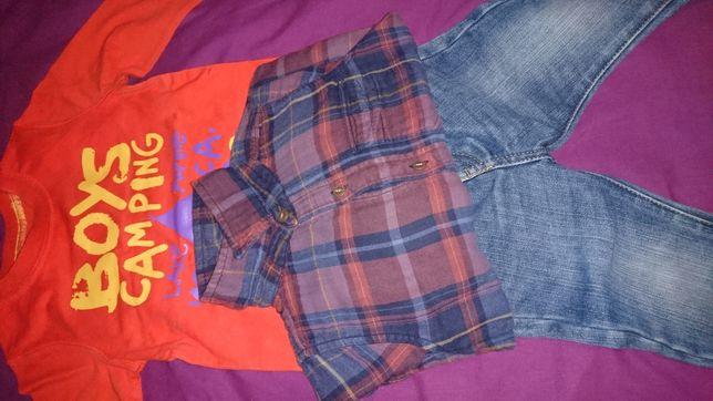Komplet: spodnie next, koszulka mama's & papa's ,koszula Gap 2Y