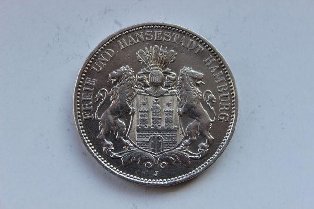 Пруссия 3 марки 1914 Гамбург Серебро