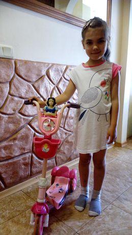 Самокат для девочки трёх колесный Дисней 4-7 лет трёхколесный