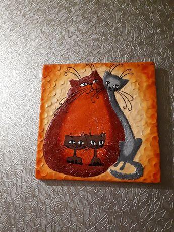 Картина из гипса, котики, декор, семья котов, котята