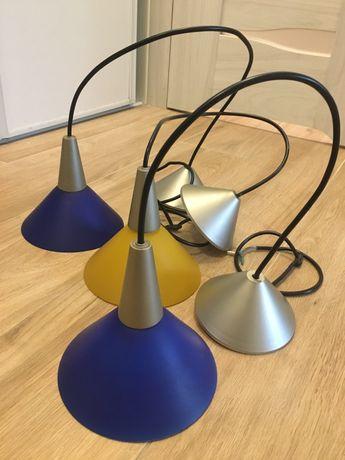3 sztuki zwisy lampy niebieski zolty szklane klosze potrojny zwis lamp