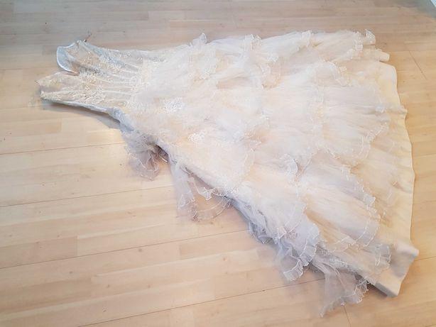 S , M - suknia ślubna do ślubu seksowna balowa tiulowa 1087