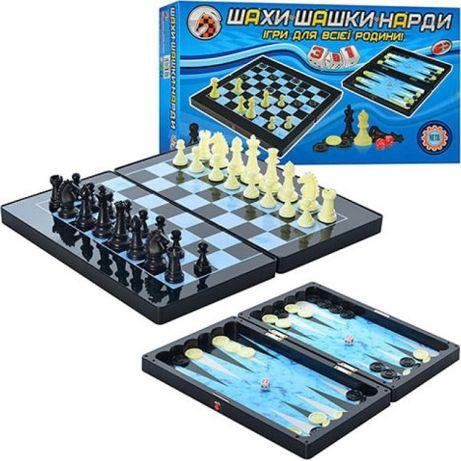 Шахматы шашки и нарды 3 в 1 арт 1178/8899
