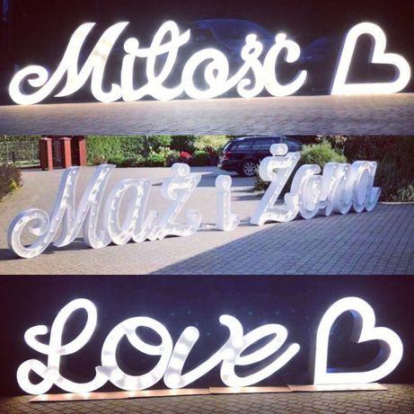 Napisy LED (Wynajem) :Miłość, Love, Mąż i Żona, Serca