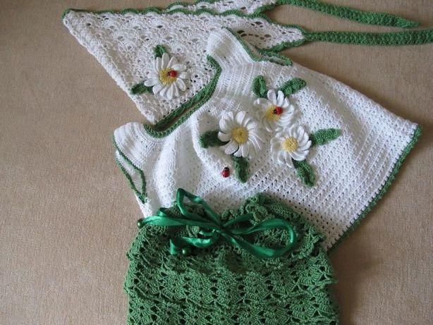 Детский вязаный комплект(кофточка,юбка,косыночка) для девочки.