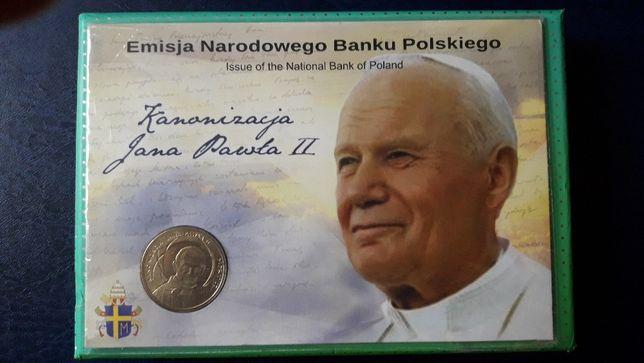 Moneta 2 zł GN kanonizacja św. Jana Pawła II w blisterze.