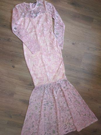 Asos платье вечернее Club L кружево гипюр пайетки 36 размер XS