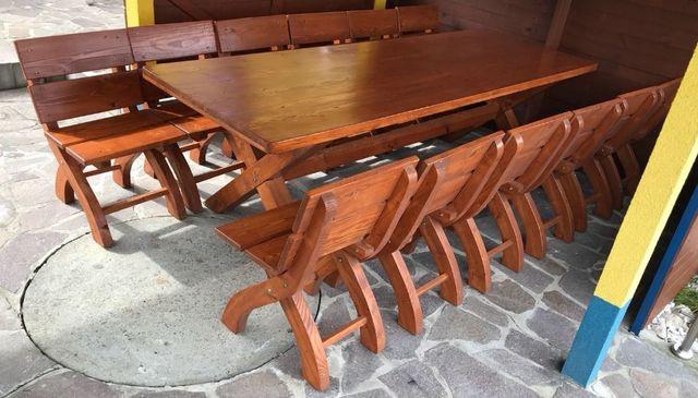 Stół z krzesłami do ogrodu - SOLIDNE DREWNIANE!