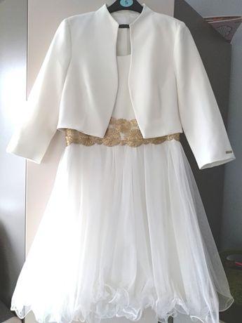 Rezerwacja Komplet do ślubu sukienka tiul +krótki żakiet rozm. 38