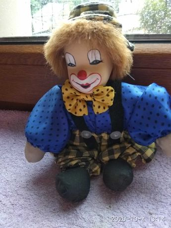 Klaun porcelanowy,tkaninowy-lalka