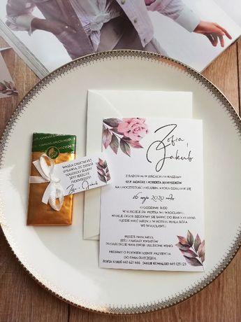 Jednokartkowe zaproszenia ślubne ślicznie z ecre kopertą HIT TANIE