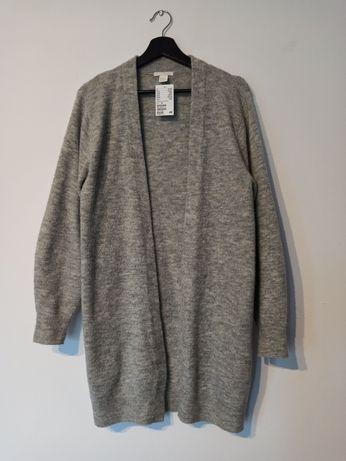 Długi ciepły kardigan bez zapięcia jasny szary melanż XS 34 sweter h&m