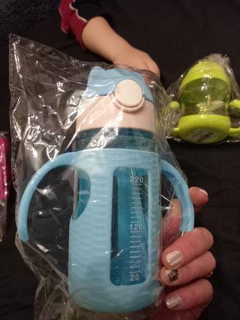 Большие  поильники бутылочка новая с трубочкой чашка непроливайка