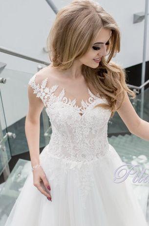 Śliczna suknia ślubna koronka ecru brokat zwiewna rozmiar S/M włoska
