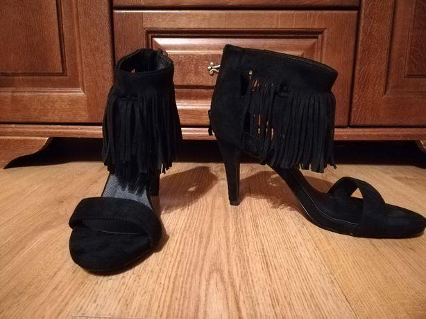 buty NOWE z fredzlami czarne szpilki