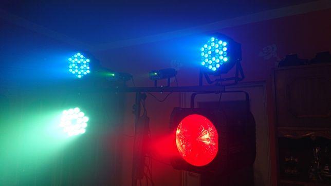 ZESTAW ŚWIATEŁ Oświetlenie DJ LED PARY Lasery Statyw Zespołu Revo 3 4