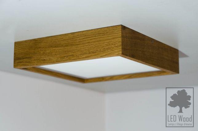 Plafon dębowy LED 32x32 cm, 12 W