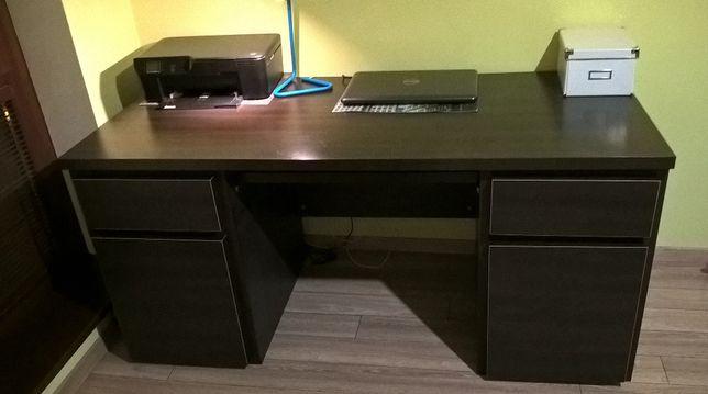Duże masywne porządne biurko pod komputer z szufladami Black Red White