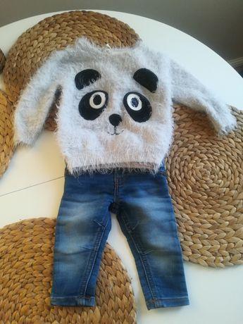 Ciepły sweterek niemowlęcy , włochaty panda cekiny r. 80