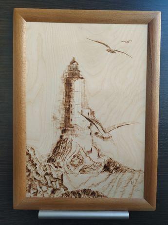 "Картина ""Маяк"" из дерева, ручная работа"