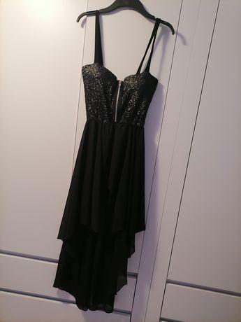 Asymetryczna czarna sukienka na ramiączkach cekiny