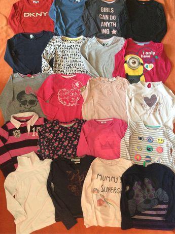 Urocze bluzeczki / tuniki z długim rękawem (Tu, H&M, DKNY) roz.98-110