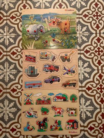 Zestaw 3 drewnianych plansz puzzli Eichhorn