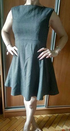 Серое платьице / платье с юбкой солнце-клеш без рукавов / сіра сукня