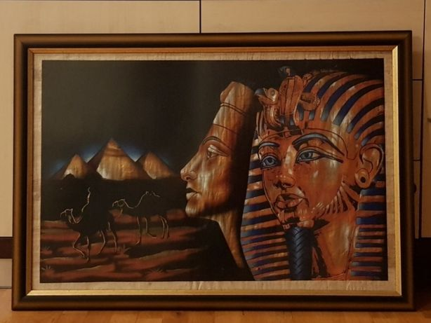 Drewniana duża rama do obrazu ( aktualnie oprawiony za szkłem papirus)