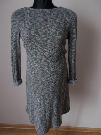 Szara sweterkowa sukienka ciążowa S/M