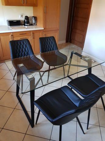 Sprzedam szklany stół,metalowe nogi, styl industrialny. 80 x 140 cm