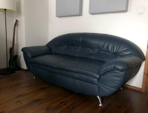 Sofa skórzana granatowa