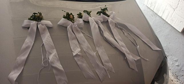 12 szt kokard z fiolką na wodę dekoracje ślubne
