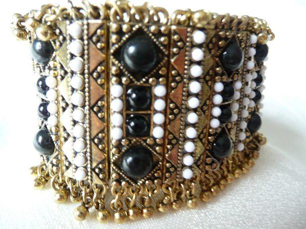 Bransoleta bransoletka orientalna złota perełki turmalin