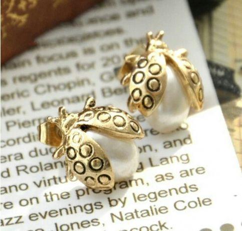 Kolczyki biedronki z perełkami