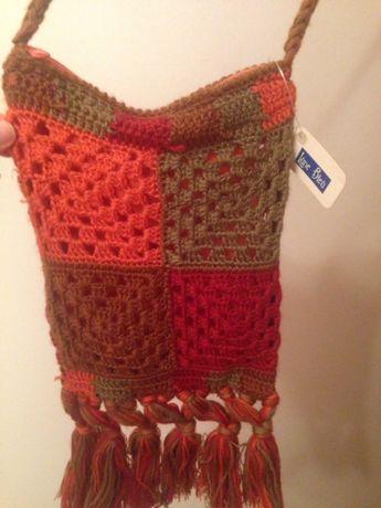 Mala/bolsa a tiracolo em crochê - NOVA, com etiqueta