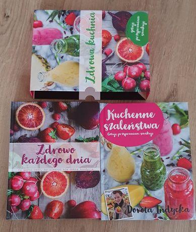 Zdrowa kuchnia, dwie książki w obwolucie ozdobnej, zdrowe odżywianie