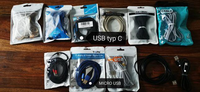Kabel, Kable micro USB, USB typ C, różne kolory magnetyczna końcówka
