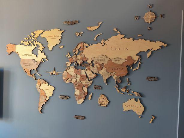 Mapa do mundo 3D (em madeira). Decoração de parede. Somos fabricantes!