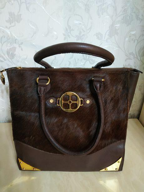 Замечательная кожаная сумка Индия с элементами из натуральной шкуры
