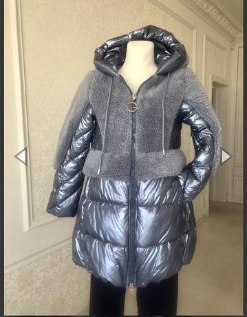 Пальто куртка пуховая серебристо голубая 40р.