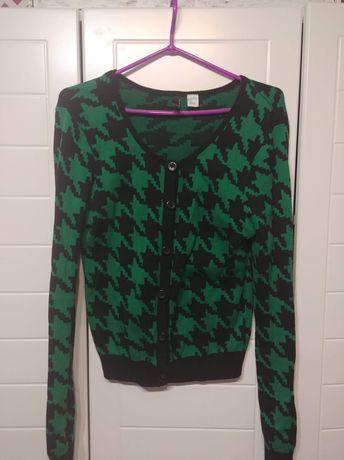 H&M sweterek we wzory zielony 40 L