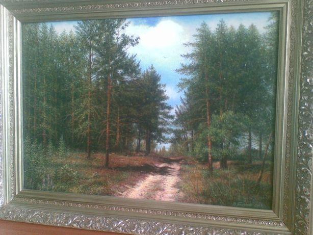 """Пейзаж """"Дорога в лісі"""", худ. В. Грінченко, полотно, олія, багет."""