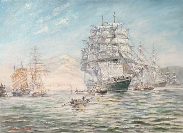 "Картина ""Морская гавань.Парусник"",холст/масло,художник Обертас Ю.А."
