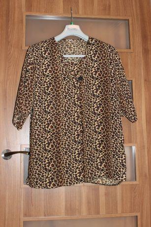 Bluzka damska typu tunika z modnym wzorem panterki duży rozmiar