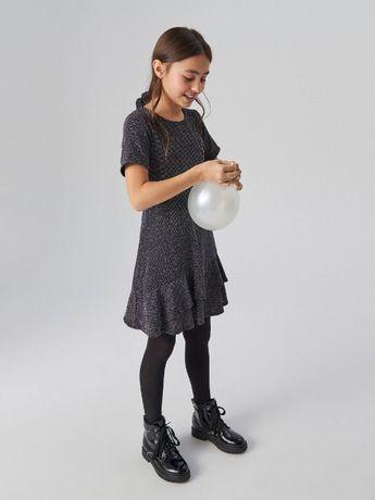 Nowa sukienka błyszcząca brokatowa Reserved czarna falbanki 110