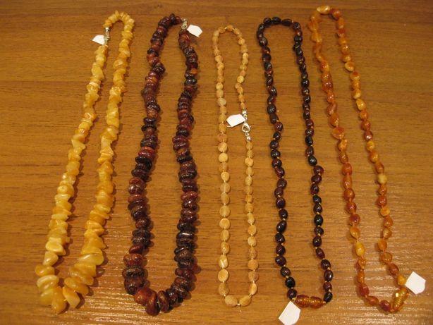 5 разных янтарных бус - одним набором (можно отдельно)