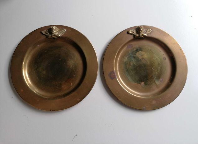 Par de pratos de bronze/latão com anjo - vintage, art nouveau