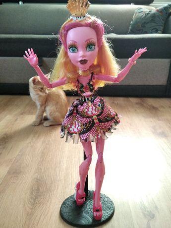 Piękna duża lalka Monster High na stojaku.