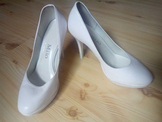 Buty ślubne weselne białe skórzane rozmiar. 37